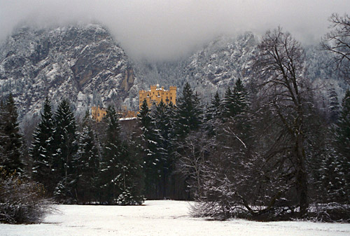Cold Cold day, with only the castle separating the snow and trees from the foggy chill. The yellow just screams, when it would otherwise be quite soft