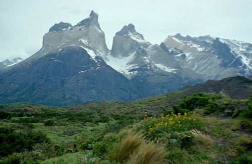 First view of Cuernos del Paine